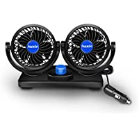 Powstro Car Cooling Fan 12V Powerful Electric Air Fans with Dual 360° Rotatable Head Adjustable 2 Speeds Dashboard Fan for Auto Vehicles Truck Sedan SUV RV Boat Auto Vehicles Golf Cart