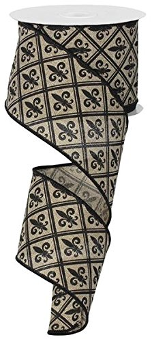 Fleur de Lis Wired Edge Ribbon, 10 Yards (Beige, Black, 2.5