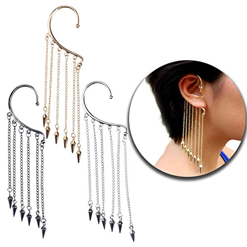 Set Kit Lot of Earrings 3pcs Ears Cuffs Earrings With Long Chains Tassels Dangles Decorations and Spikes Rivets Endings In Black, Silver and Golden Colors (Banquette Sets)