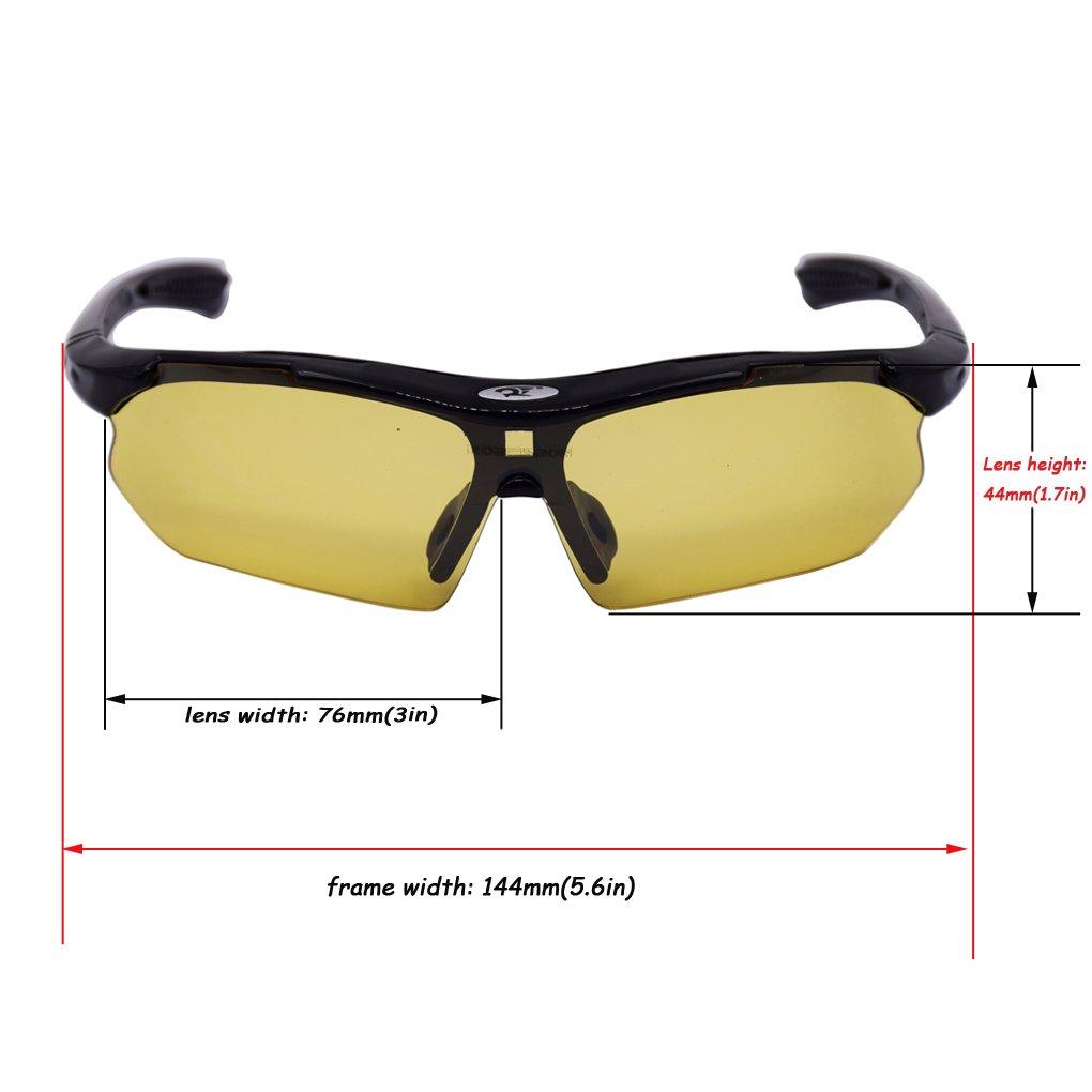 verres anti-reflet avec monture r/ésistance Paciffico Lunettes de soleil de sport enveloppantes pour homme et femme