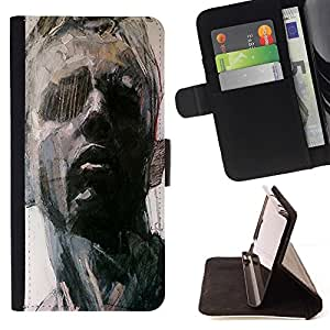 Momo Phone Case / Flip Funda de Cuero Case Cover - Retrato del hombre Arte Pintura Piensa - HTC Desire 820