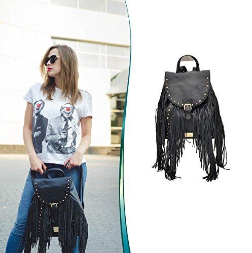 1b1c3c16baf8e Vain Secrets LYDC LONDON Damen Rucksack Handtasche mit Fransen Magnet- und  Schnürverschluss (Schwarz)  Amazon.de  Schuhe   Handtaschen