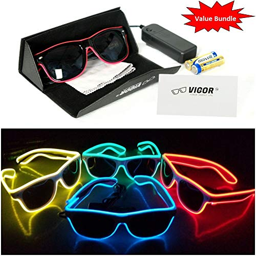 #1 LED Party Glasses Bundle for Party , Club , Rave , Concert , Birthday , Costume , Halloween , and Christmas use, by VIGOR the Ultimate in Light Up Glasses]()
