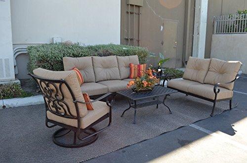 Santa Anita Cast Aluminum Powder Coated 5-piece Seating Set - Antique Bronze