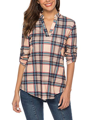 - DILISHA Long Sleeve T Shirt Women, Fashion Clothes Lightweight Apricot Tartan Print 3/4 Tab Sleeve Tunic Tops Stretchy Fabric Office Casual Loose Fit Flared V Neck Blouse Beige M