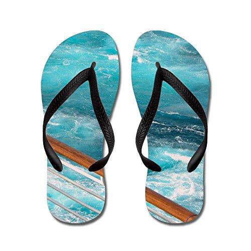 Cafepress Caribbean Cruise Wake - Flip Flops, Roliga Rem Sandaler, Strand Sandaler Svart