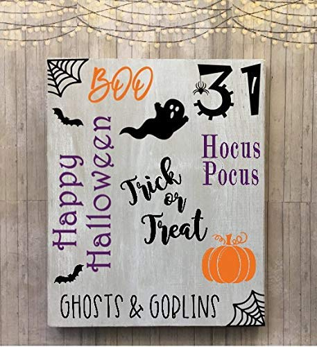 Iliogine Funny Wood Sign Halloween Hocus Pocus Boo Trick Or Treat Pumpkins Oct31 Handprinted Halloween Decor Ghosts and Goblins Halloween Words Wall Art Decor Home Plaque ()