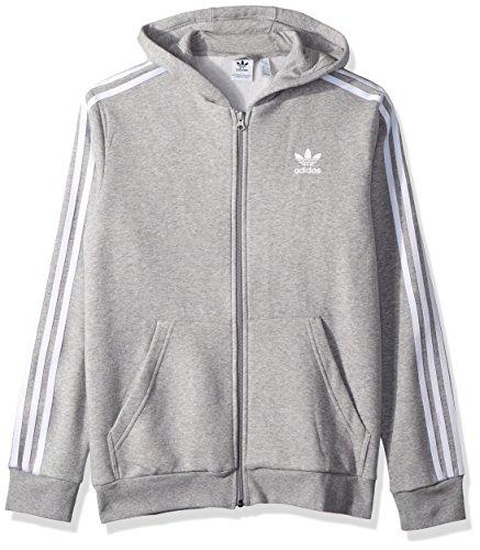 adidas Originals Boys' Big Trefoil Full-Zip Hoodie, Medium Grey Heather/White, - Retro Adidas Kids