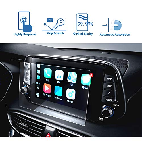 LFOTPP Navigation Screen Protector for 2019 Santa Fe 8 Inch, Clear Tempered Glass Car Display Touch Infotainment Screen Scratch-Resistant Extreme Clarity