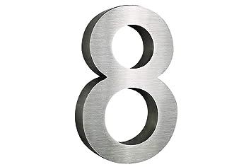 Número de casa de acero inoxidable, n.º 8, 20 cm, en diseño ...