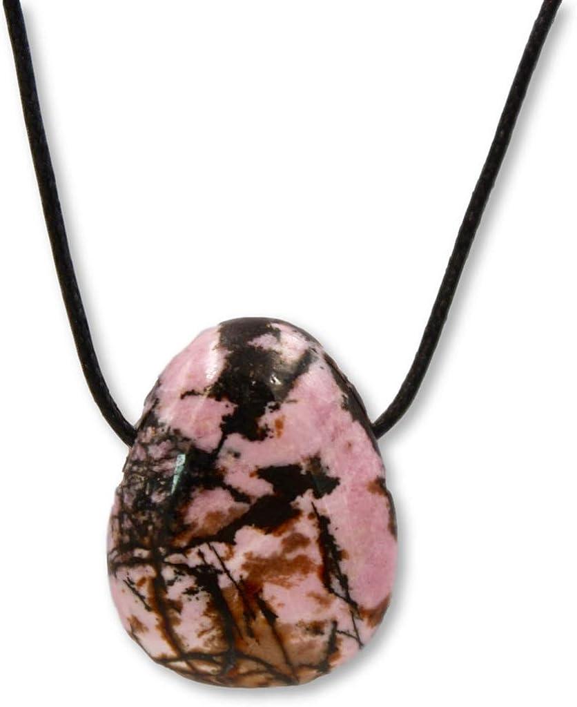 Taddart Minerals – Colgante de piedra de tambor, color rosa y negro, de piedra preciosa natural rodonita con cadena de piel