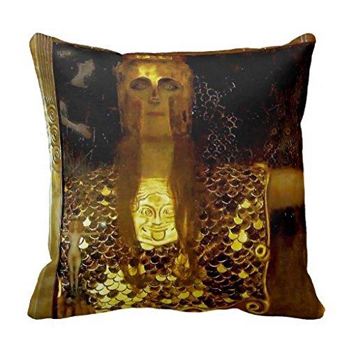 Athena Throw Pillow (Gold Leaf Pallas Athena Gustav Klimt Throw Pillow)