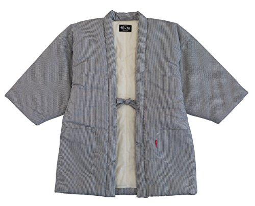 본고장 구루메 수제의 히코리 무늬 한텐・겉옷・소매없는 상의 / 프리사이즈