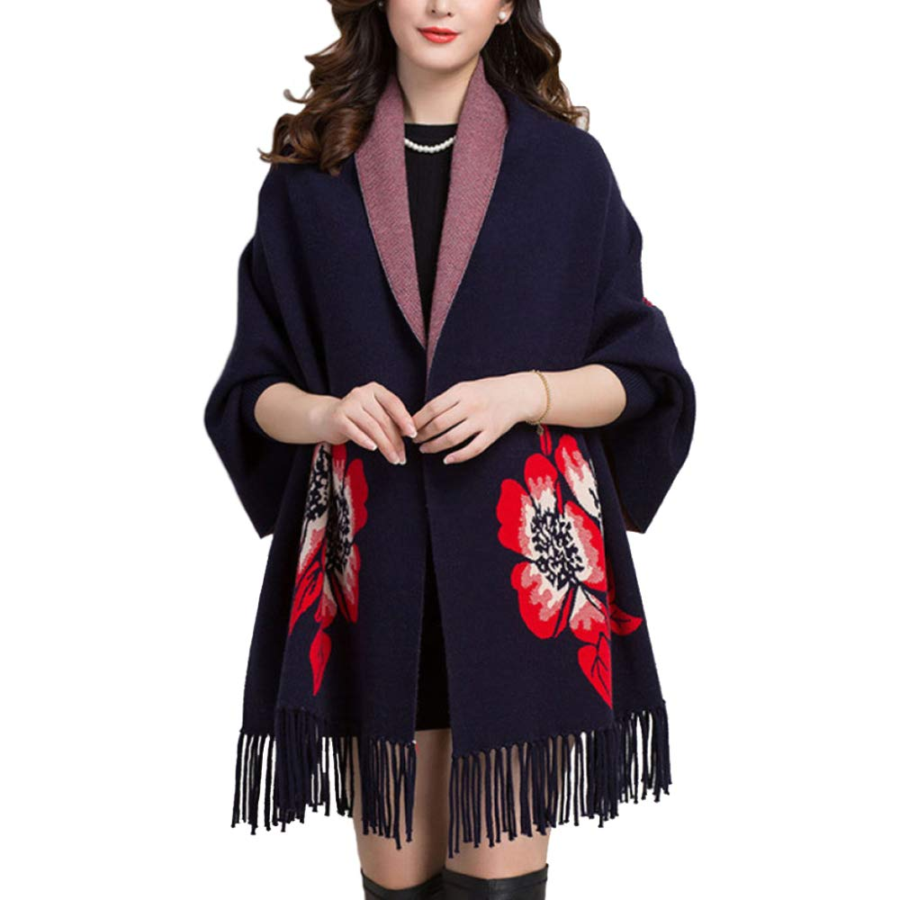 bluee LIULIFE Cape Poncho Spring Autumn Print Shawl Scarf Dualuse Women's Cloak Batwing Knit Sweater Coat