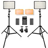 SAMTIAN 160 LED Video Light Kit with 2 Meters Tripod, 3200/5500K Photo Light Panel Stand Set for YouTube Studio Photography Shooting, Including Batteries, Charger