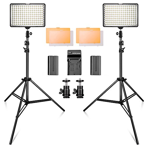SAMTIAN 160 LED Video Light Kit with 2 Meters Tripod, 3200/5500K Photo Light Panel Stand Set for YouTube Studio Photography Shooting, Including Batteries, Charger by SAMTIAN