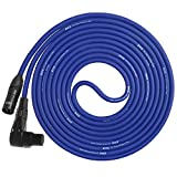 LyxPro Balanced XLR Cable Right Angle Female 6 ft Premium Series Professional Microphone Cable, Powered Speakers and Other Pro Devices Cable, Blue