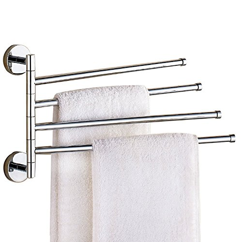 Leyden TM Towel Rack 4-Bars Saving Space Towel Holders Rack Swing Out Towel Bar Folding Arm Swivel Towel Rack Hanger, Silver Chrome Finish