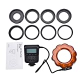 Acouto LED Macro Ring Flash Light Macro Photography Light Lamp with 8 Adapter Ring for DSLR Cameras