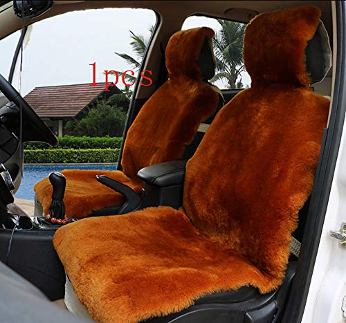 OFLBA 1Pcs Whole Hide Genuine Luxury Australian Sheepskin Wrap Seat Cover Airbag Ready (red Brown)
