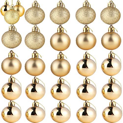 ZHOUZHOU 24PCS Bolas de Navidad,Decoración de árbol de Navidad,Bolas Arbol de Navidad,Adornos Navideños Arbol,Regalos de Colgantes de Navidad,4cm (Dorado)