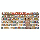 iPrint Large Cotton Microfiber Beach Towel,Modern,Library Bookshelf with A Ladder School Education Campus Life Caricature Illustration,Multicolor,for Kids, Teens, and Adults