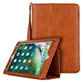TechCode 2018 New iPad 9.7 Case, PU Leather Sleeve Smart Stand Case Slim Cover with [Card Slot] [Hand Strap] [Wrist Strap] for Apple iPad Air/Air 2/iPad Pro 9.7/2017/2018 iPad 9.7(Light Brown)