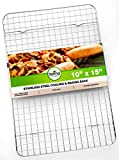 Crate and Barrel Kitchen Oven Safe, Heavy Duty Stainless Steel Baking Rack & Cooling Rack, 10 x 15 inches Fits Jelly Roll Pan