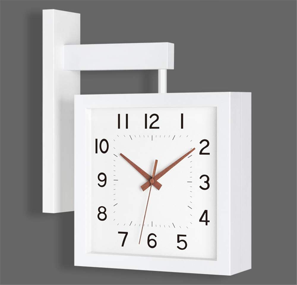 Wall Clock Double-Sided Home Living Room Solid Wood Square Modern Minimalist Creative Mute 30.5 cm in Diameter As Shown