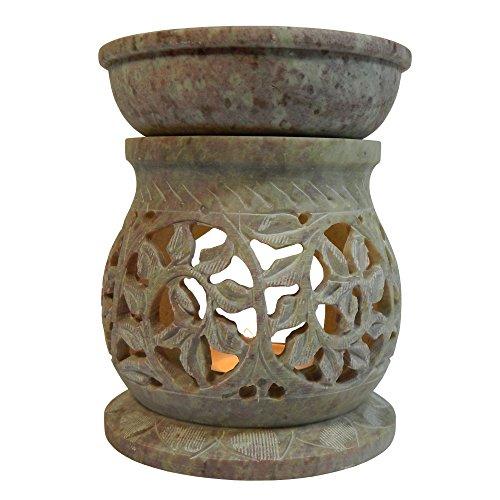 Duftlampe 11cm Pflanzenranke Schlingpflanze bauchförmig Speckstein Duftstövchen Wohnaccessoires Deko Raumduft