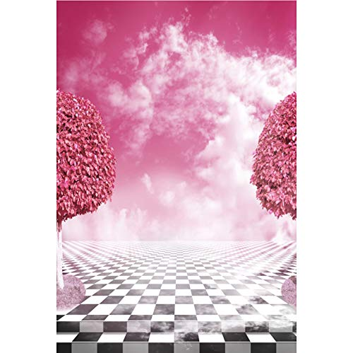 Baocicco 8x10ft Pink Alice's Adventures in Wonderland Backdrop Pink Trees Pink Sky White Cloud Backdrop Chess Board Floor Backdrop Lover Couples Wedding Portraits Photo Shooting Props