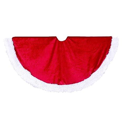 Kurt Adler 45 Inch Red Velvet Tree Skirt With White Fur Trim