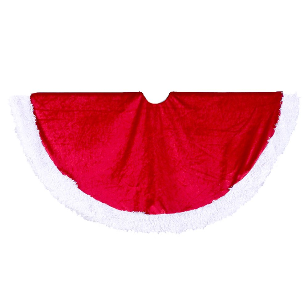 Kurt Adler 45-Inch Red Velvet Tree skirt with White Fur Trim
