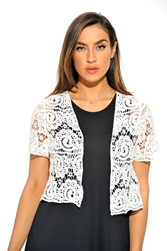 ove Bolero Shrug / Women Cardigan,White Paisley Crochet,3X (Crocheted Shrug)