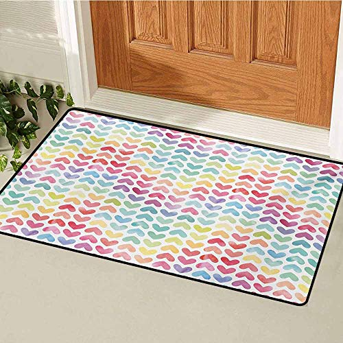 GUUVOR Watercolor Welcome Door mat Love Valentines Day Theme Colorful Cute Little Hearts Vibrant Paintbrush Effect Door mat is odorless and Durable W15.7 x L23.6 Inch Multicolor ()