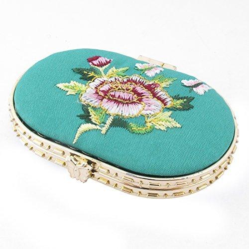 Forma Oval flor bordada Padro Mini bolso Maquiagem Espelho Cyan