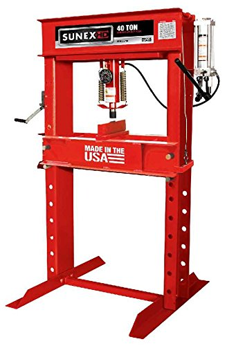 Sunex 5740 Manual Hydraulic Shop Press, 40-Ton, Red