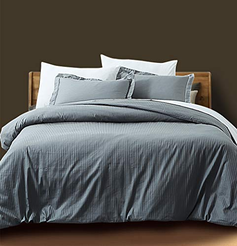 ZIGGUO Gray Stripe Duvet Cover Set King, Luxury Royal Hotel Bedding Set with 400 Thread Count 100% Long Staple Cotton, Sateen Weave Silky Soft Breathable Bed Linen, 3 Piece Included