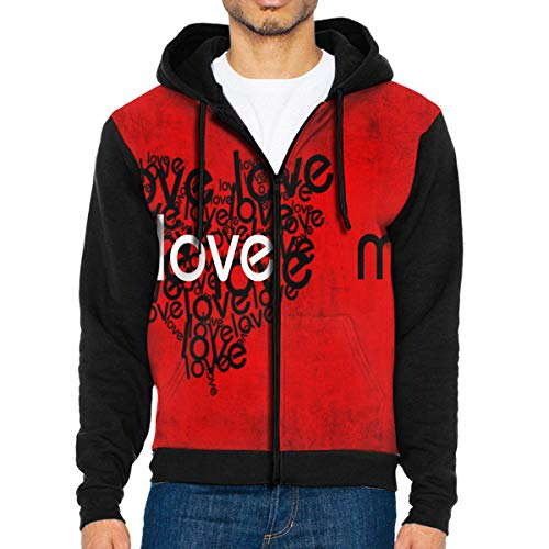 Men Hoodie Love Me Hot Full Zip with Pocket Jackets Lightweight Holiday Black