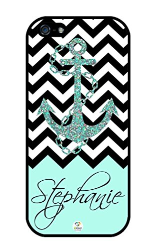 iZERCASE Personalized Black Turquoise and White Chevron Pattern with Anchor RUBBER iphone SE / iPhone 5S case - Fits iphone SE, iPhone 5S T-Mobile, AT&T, Sprint, Verizon and International (Black)