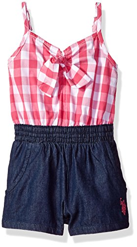 U.S. Polo Assn. Baby Girls Romper, Gingham Plaid Knot tie Fuchsia, 12M ()