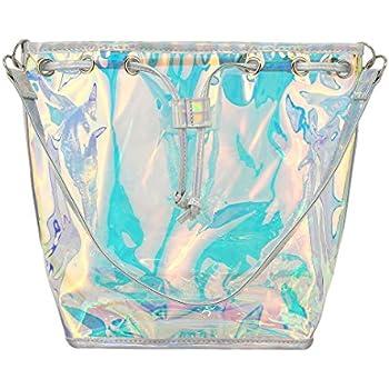 6df7942219 Batique Women Girls Transparent Hologram Shoulder Bag Drawstring Bucket Bag  Tote Handbag