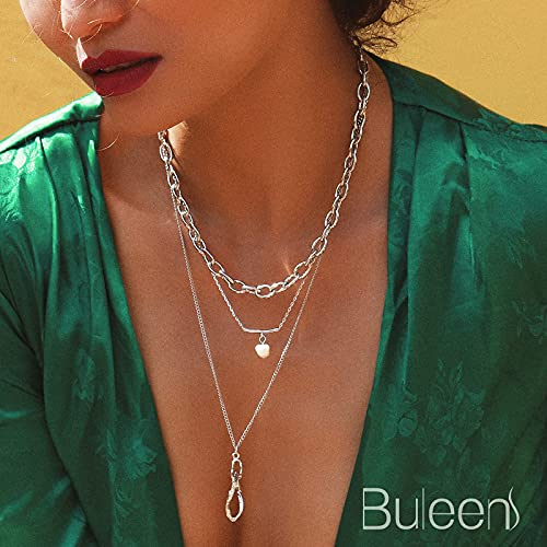Buleens Layered Pendant Necklaces Layering Pearl Choker Chains Necklace for Women Girls Her,Dainty Delicate Floating Teardrop Jewely Necklace…