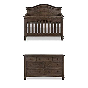 Evolur Cheyenne 5 in 1 Full Panel Convertible Crib in Antique Brown with Double Dresser