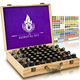 Essential Oil Wooden Box - Storage Case with Handle. Holds 68 Bottles and Roller Balls. Natural Pine Wood. Large Organizer Best for Keeping Your Oils Safe. Includes Padding and EO Labels