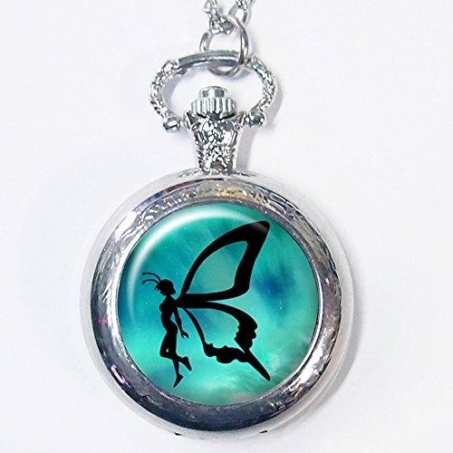 Vintage Peter Pan Fairy in Neverland Pocket Watch Hand Craft Casestars Fairy Tale Story Quartz Pocket Watch
