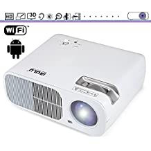 LED Projector, Portable Wireless Video Projector, Built-in Android and WiFi, Multimedia Home Cinema Theater with Multiple Interface.