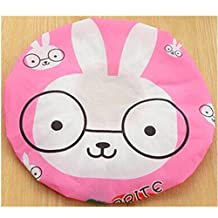 KAKA(TM) Women's Children Cute Stylish Design Mold Resistant Waterproof Shower Hat Shower Cap-Pink Rabbit