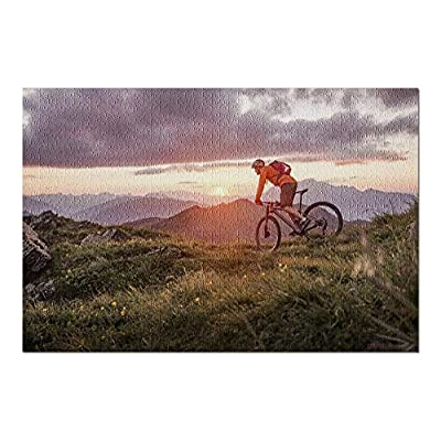 Male Mountain Biker at Sunset in The Mountains 9005700 (Premium 1000 Piece Jigsaw Puzzle for Adults, 20x30, Made in USA!): Toys & Games