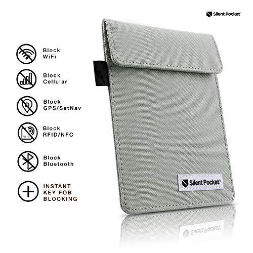 Silent Pocket Signal Blocking Faraday Key Fob Case - Car Anti Theft Device Shielding Against All Signal Types, Including RFID Blocking & Durable Faraday Bag, Fits Most Car Keyfobs (Grey)